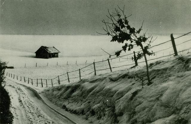Vieux coin sous la neige Sentier du Meunier ca 1950 Collection Jean-Claude Renier
