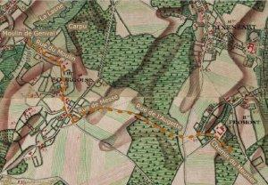 12B Ferraris 1777 - Du chemin du Meunier à Froidmont vers le moulin de Genval