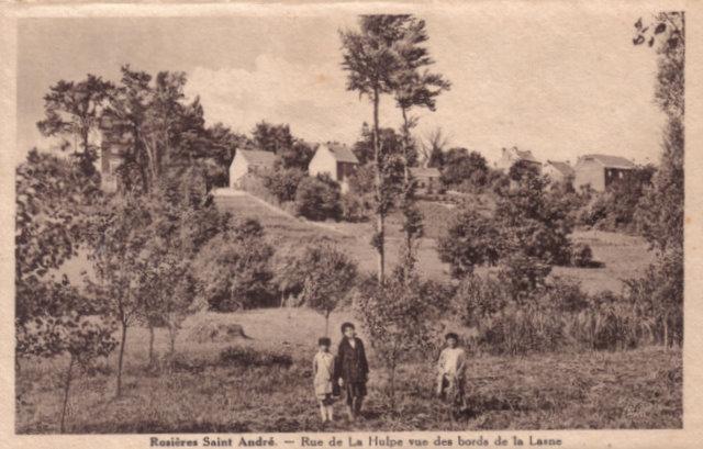 Rue de La Hulpe vue des bords de la Lasne - Rosières St. André Collection Michel Delabye