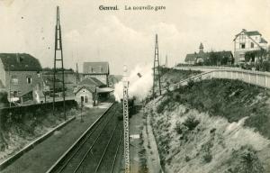 RR31.12 Gare de Genval II sémaphore et train vapeur 1914 c Jean-Claude Renier.jpg
