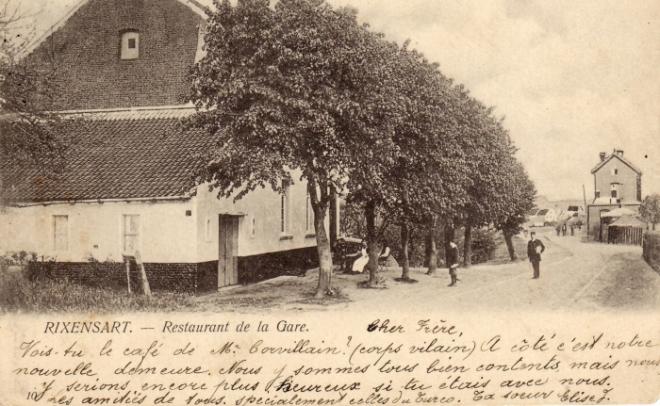 1502 < 166. Restaurant de la Gare 1904 (carte envoyée par Elise à son frère Edmond Jacquet, au collège de Bellevue à Dinant) Collection Philippe Jacquet.jpg