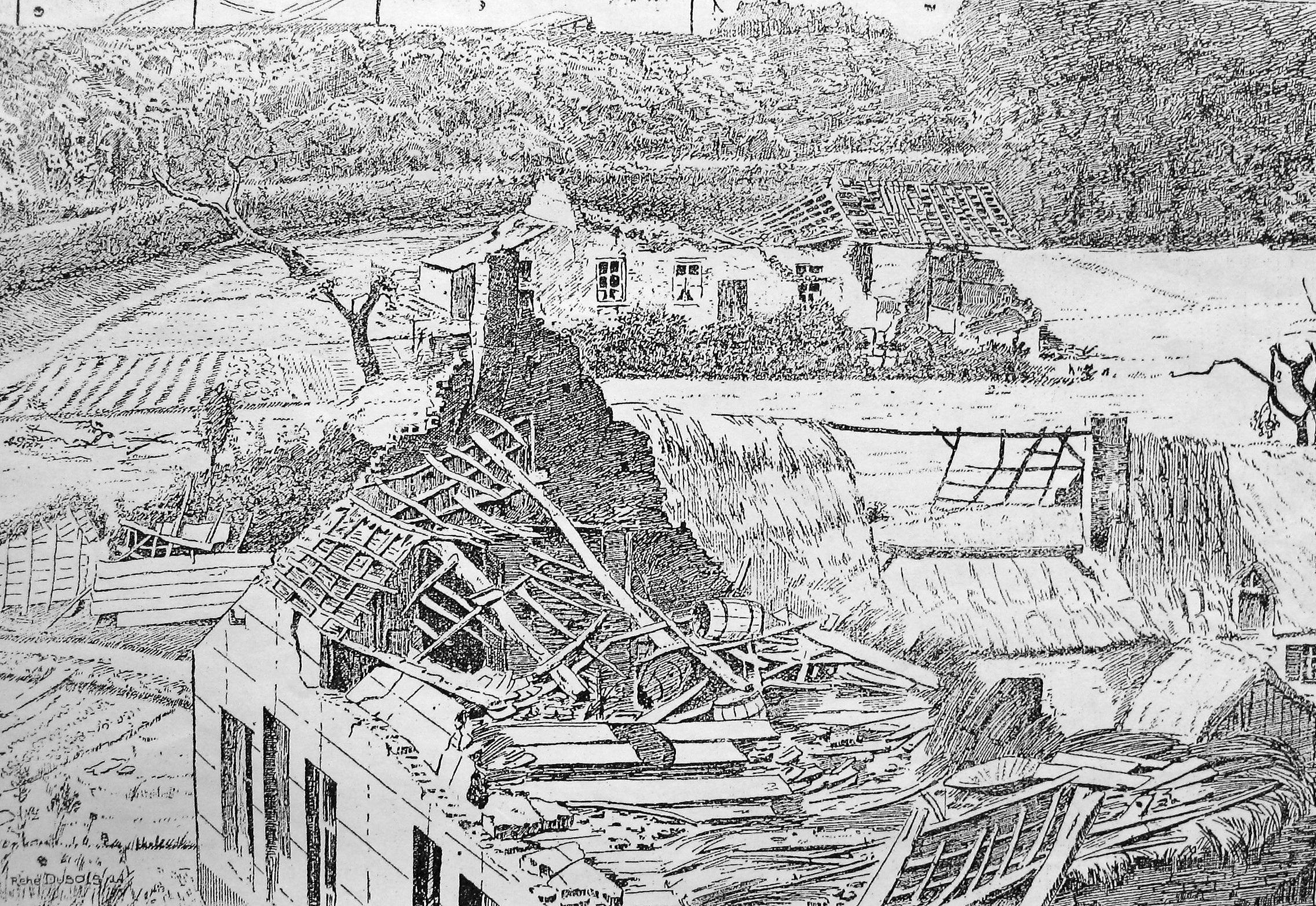 Gravure représentant le Cyclone publiée dans La Belgique Illustrée du 25 août 1895 Collection Cercle d'Histoire de Rixensart