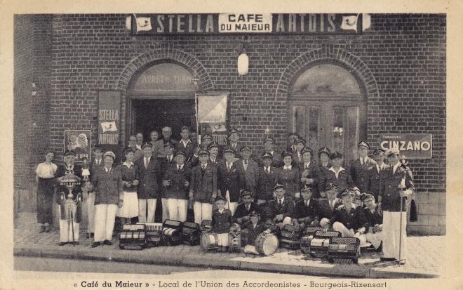 Local de l'Union des Accordeonistes de Bourgeois Café du Maieur Edit Belgica Tél Genval 53 71 56 coll. Jean-Louis Lebrun