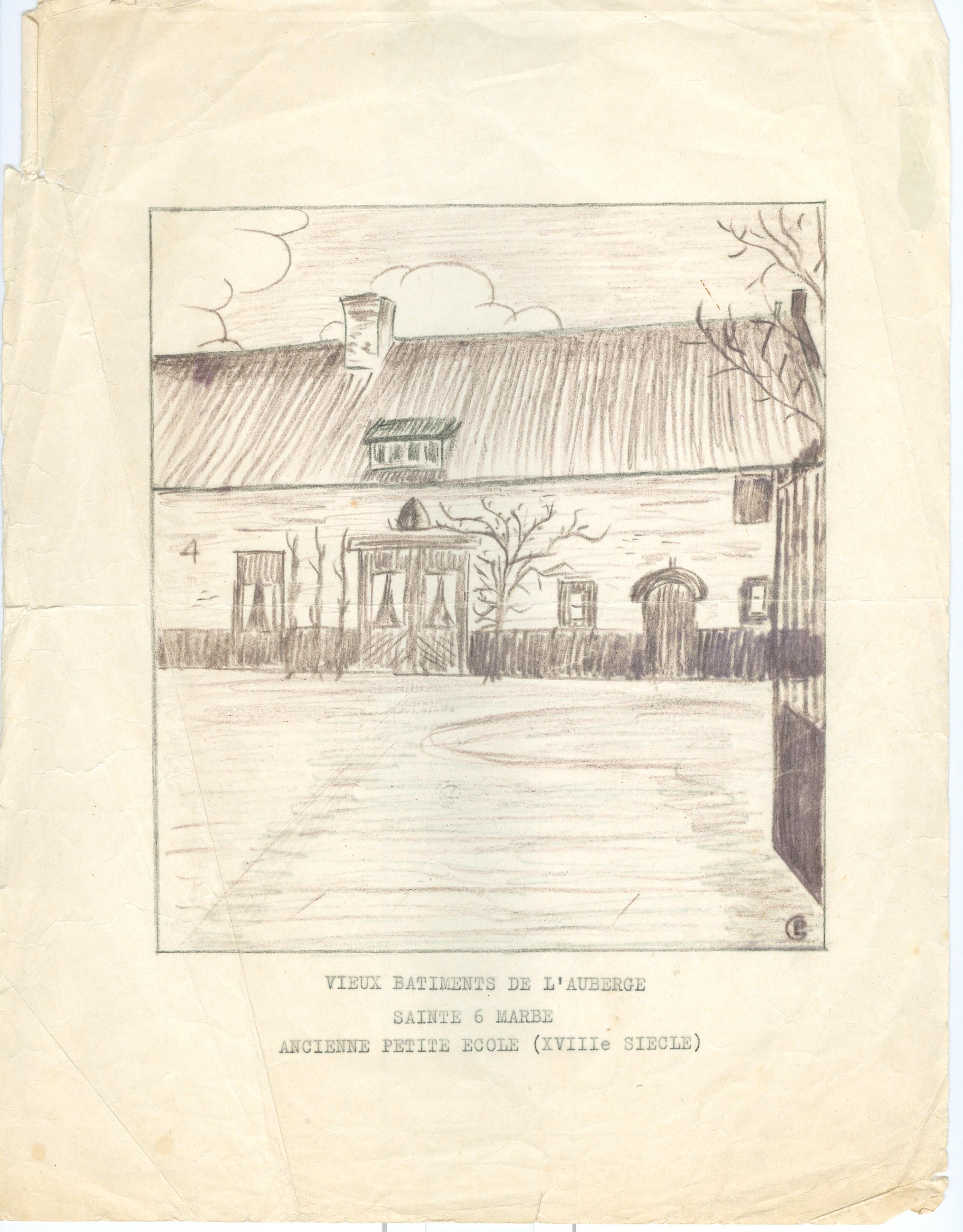 1355. Petite école auberge Ste Barbe croquis par Paul Gilson