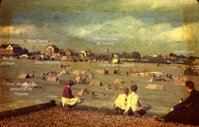 1583L. septembre 1944 Hôpital de campagne US route d'Hohain (vue depuis le toit d'ure remise du Boutny - propriétaire Jean de Lannoye c Fonds Lannoye copie 2