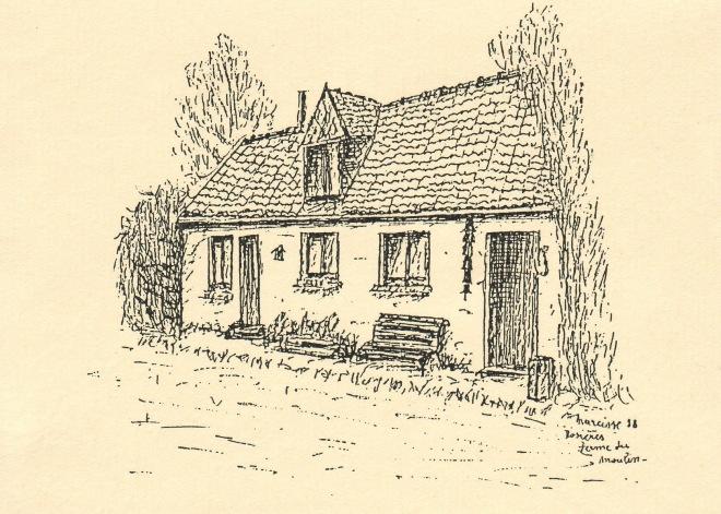 1609. Ferme du Moulin Rosières dessin 1988 Narcisse Poplemont © SI Rixensart