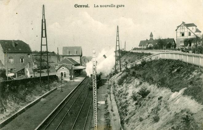 783. Gare de Genval II sémaphore et train vapeur 1914 c Jean-Claude Renier