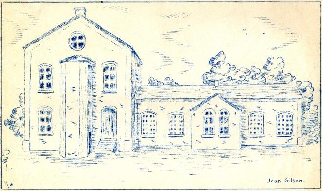 1132. 2éme école communale place communale 1875 à 1925 croquis_1 c Paul  Gilson