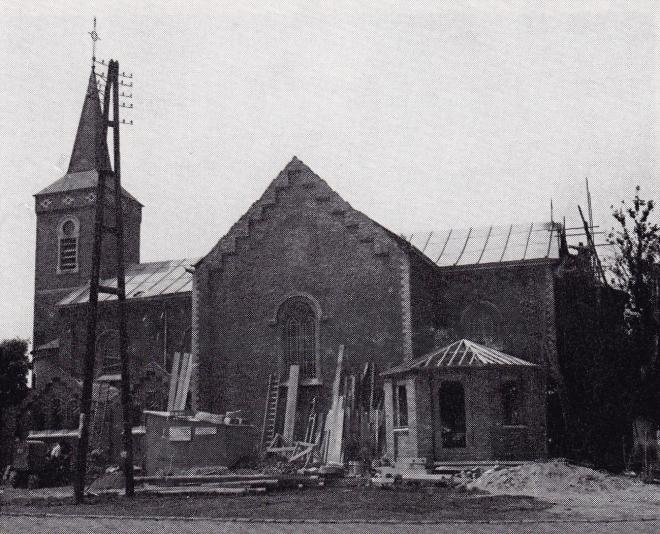 Eglise de Bourgeois travaux de 1956 coll Vivien de Walque