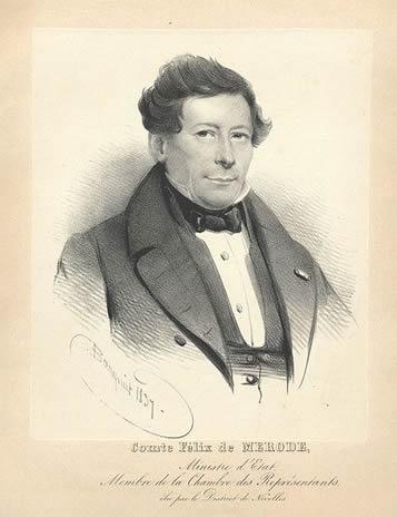 Comte Félix de Merode lithographie par Charles Baugniet