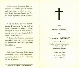 25. Funérailles Dr Lucien Dessy mars 1947 Collection Dupuis Delbrassinne