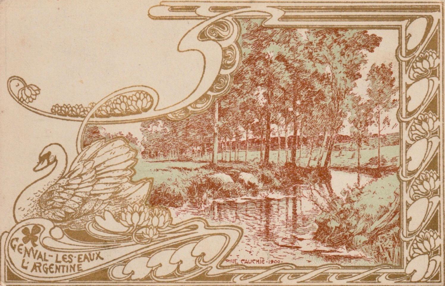 L'Argentine carte postale art nouveau litho de Paul Cauchie Genval-lez-Eaux