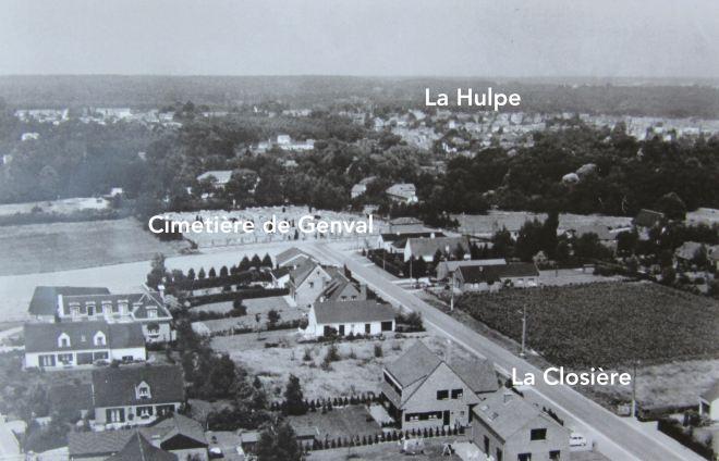 1985/1990 |Photo-légende Vue 1 depuis le château d'eau de Genval III (photo F. Chauffoureaux, coll. Cercle d'Histoire de Rixensart)